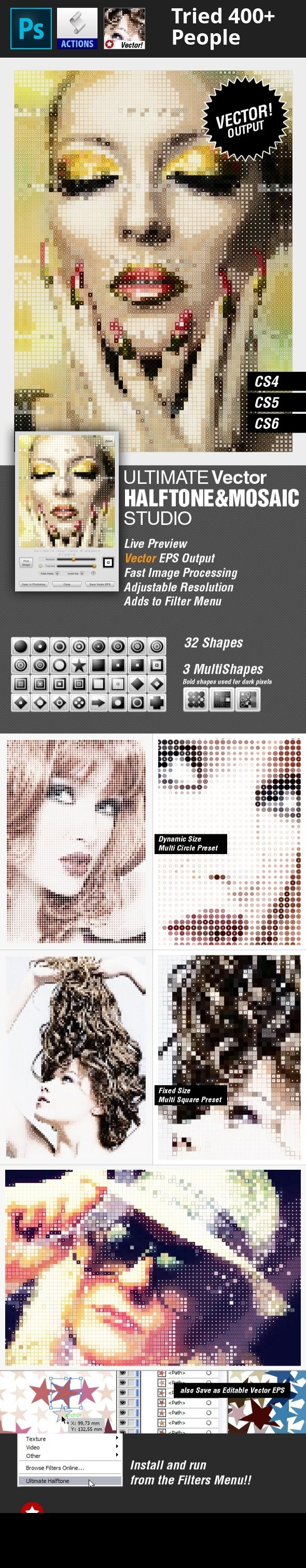add-on, effect, filter, geometric, half tone, half-tone, halftone, mosaic, photoshop, plugin, shape, vector Using Ultimate Halftone & Mosaic Studio you can create cool halftone and mosaic effects and open the result in Photoshop or you can save it as an editable  VECTOR  .eps file.   	This item is a plugin anf can be run from the Filters menu.   	Click the below image to see the plugin in action!