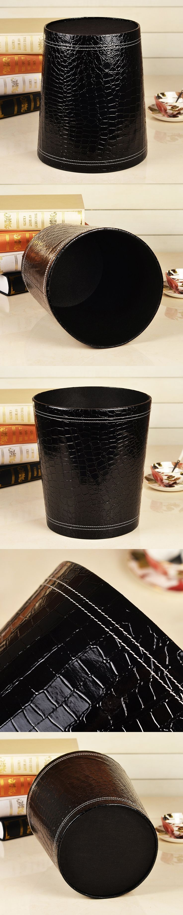 Creative Black Crocodile Grain Leather Trash Can Waste Bins Bedroom Garbage Container wooden fabric wastebasket Dustbin case box