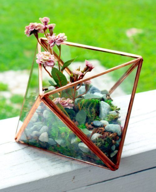 Diy Geometric Glass Terrarium With Faux Plants For The Home