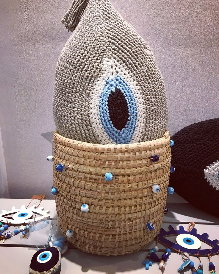Handmade evileye summer basket and hand crochet xl evileye pillow by Cotton Prince