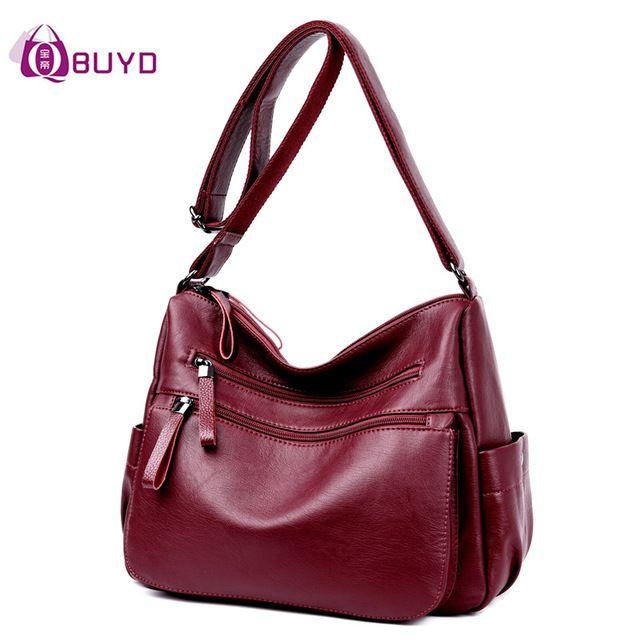 1be0cc556b36 Women Leather Handbags Female Casual Shoulder Bags Ladies Shoulder Bag  Design Zipper Hobos Women s Messenger Bags Bolsa Feminina
