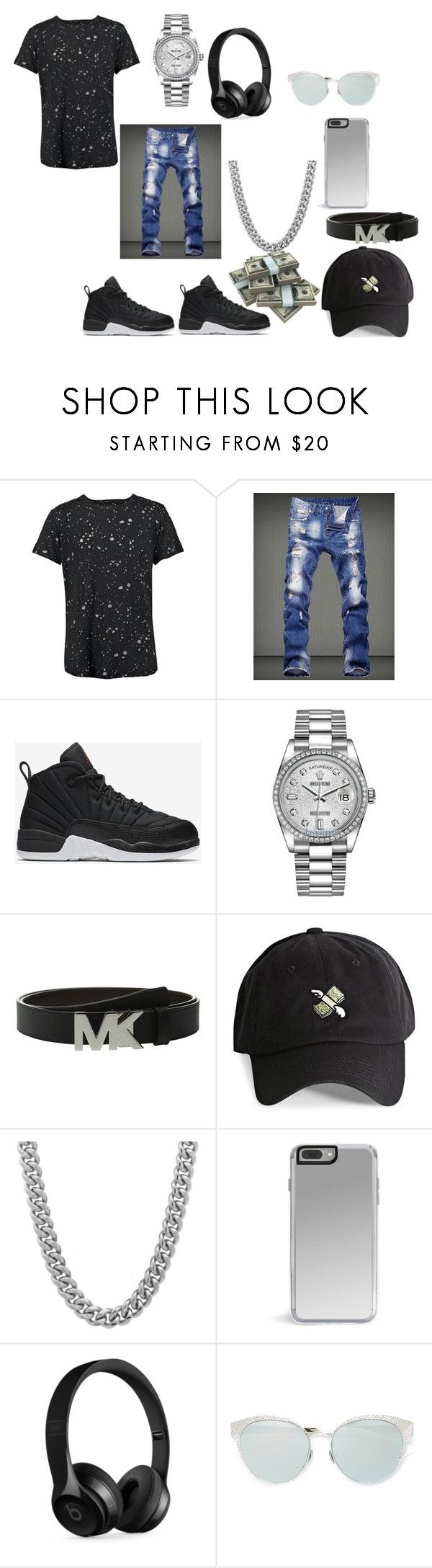 """Apple Jacks outfit"" by tamarabeautyx ❤ liked on Polyvore featuring Boohoo, NIKE, Rolex, Michael Kors, 21 Men, Sterling Essentials, Beats by Dr. Dre, men's fashion and menswear"