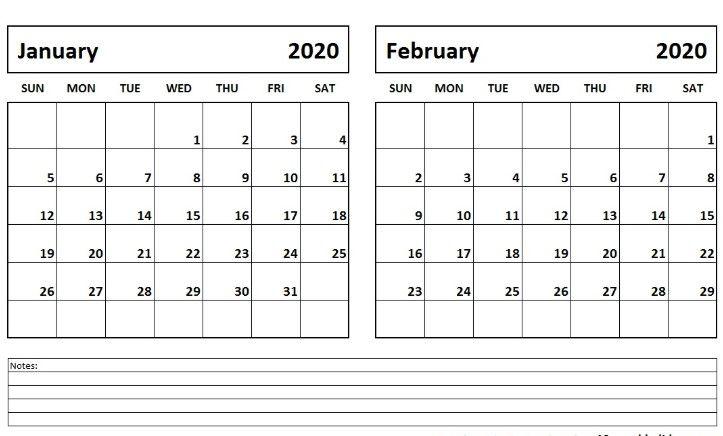 January February 2020 Calendar Printable Template Pdf Word Excel