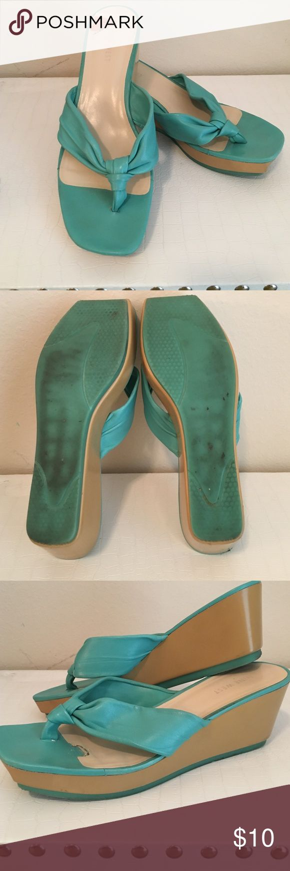 Sandle Leather turquoise wedge sandle Nine West Shoes Wedges
