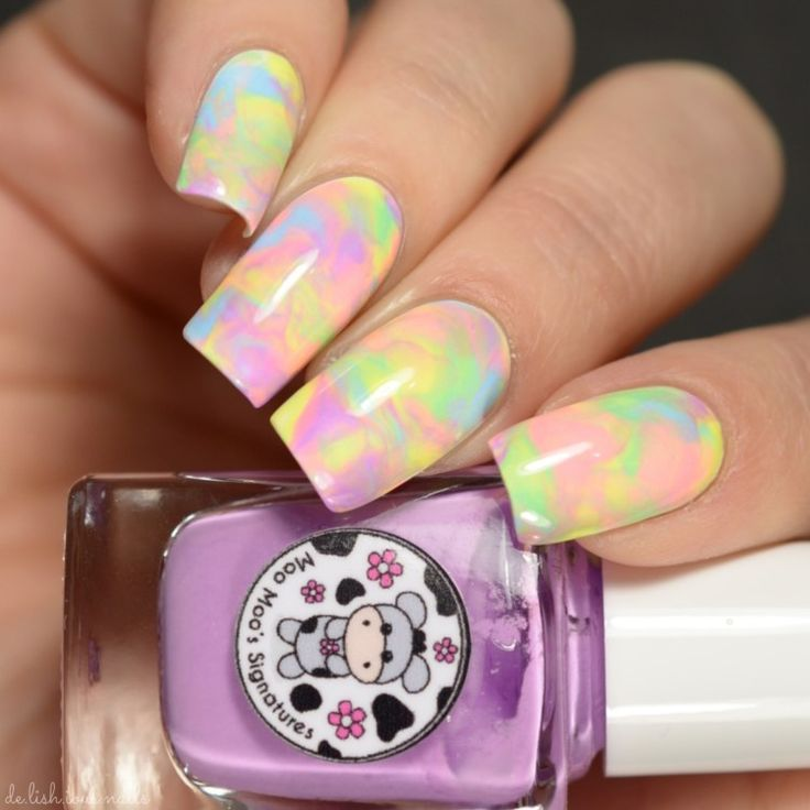 Moo Moo Signatures Rainbow Flowers Bath Nail Art – De-Lish-ious Nails