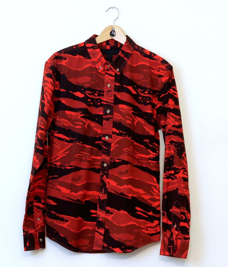 Black Scale Tiger Camo Shirt Red Red Camo Shirt Button
