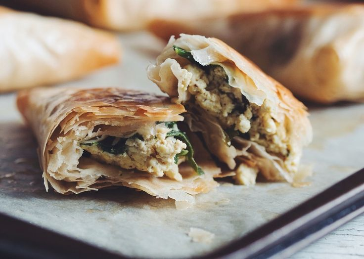 these spinach & tofu feta phyllo triangles are melt in your mouth delicious!
