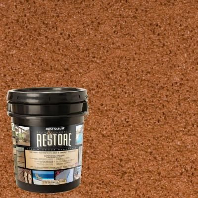 Idea For Painting Cinder Block Wall Restore 4 Gal. Redwood Deck And Concrete  Resurfacer