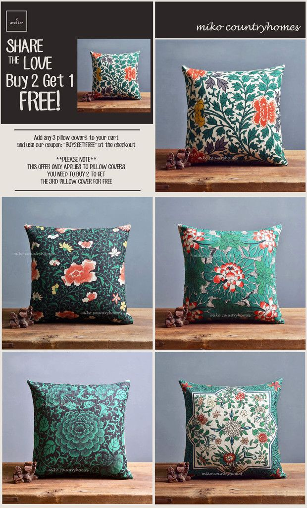 $15 | Chinoiserie Green Floral Art Motif | Throw Pillow Cover #Chinoiserie #HomeDecor #PillowCovers #DecorTrends #BUY2GET1 #GiftsForHer #GiftsIdeas #Decorate