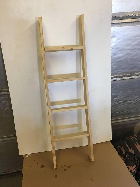 Diy 42 Unpainted Wooden Hanging Ladder Wall Shelf Decoration Ready