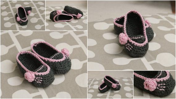 Baby Girl Slippers Booties Crochet PATTERN 0-6 month in PDF - grey