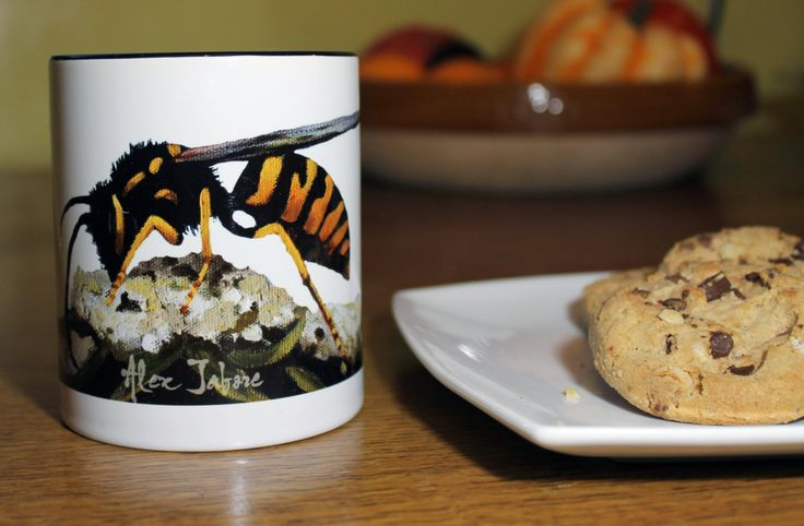 Wasp Coffee Mug, Tea Cup, Fine Art Print of Insects, Bright Garden Drinkware, Perfect Gift for Christmas from Alex Jabore by AlexJaborePaintings on Etsy