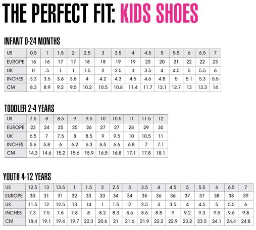 puma youth shoe size chart - Google Search