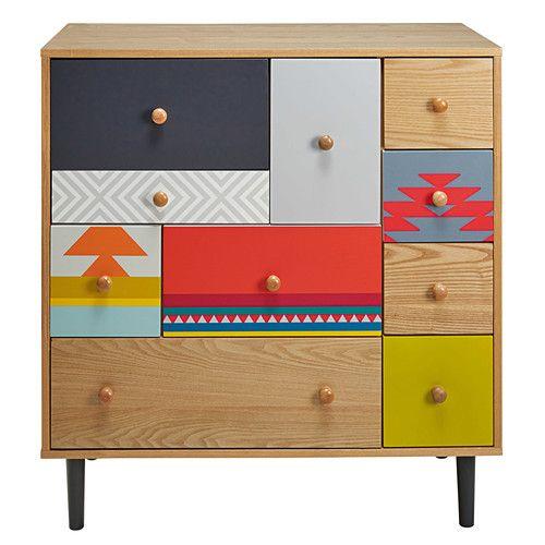 Cabinet 10 tiroirs motifs colorés