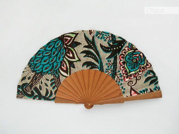 Éventail espagnol en bois avec étui - accessoire baroque africain pour homme et femme - vert - ventilateur de main eventail abanico faecher