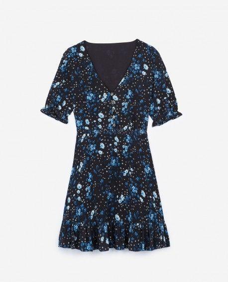 7d782a8f18f7f Navy silk dress with Jazz Flowers print - THE KOOPLES | THE KOOPLES ...
