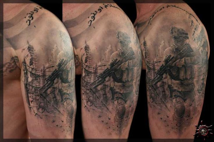 Awesome Marine Soldier Tattoo On Man Left Shoulder