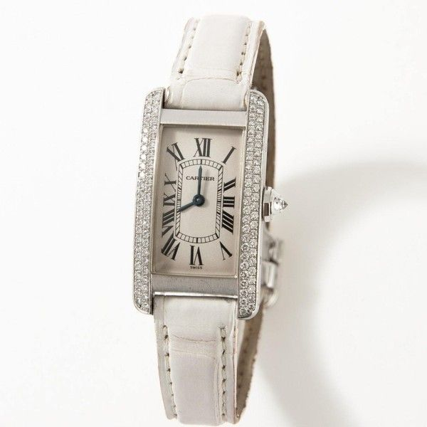 Pre-owned Cartier Tank Américaine White Gold Watch (89.742.805 IDR) ❤ liked on Polyvore featuring jewelry, watches, silver, cartier jewelry, white gold jewelry, preowned jewelry, preowned watches and cartier watches