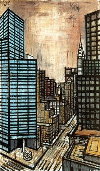 Bernard BUFFET ( 1928 - 1999 ) - Peintre Francais - French Painter New-York, Lexington Avenue