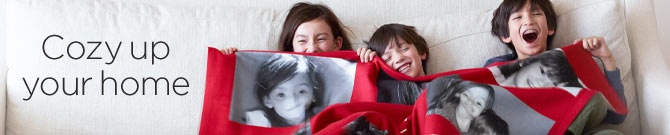 Cozy up your home with personalized photo fleece blankets from Shutterfly