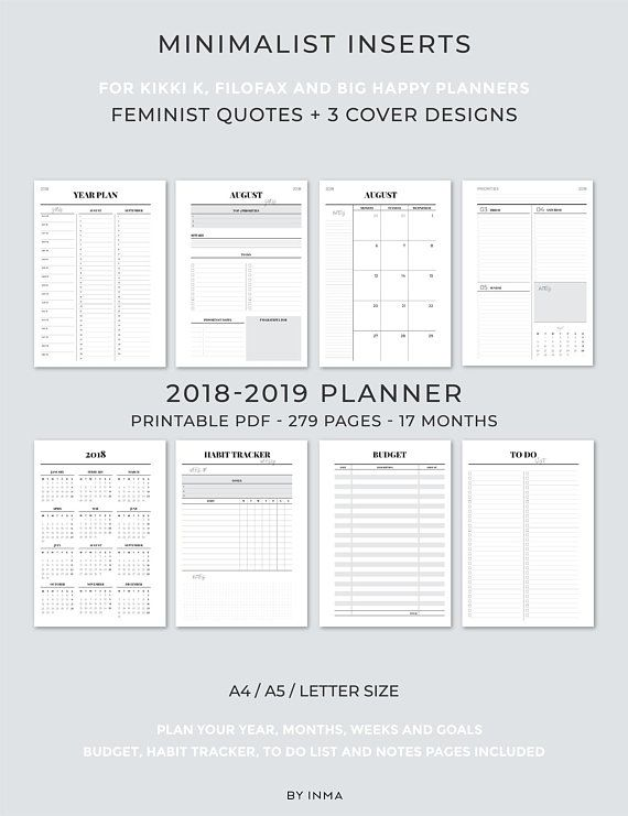 picture about A5 Planner Printables called 2018 2019 Planner Printable, Filofax A5 inserts, Instructional