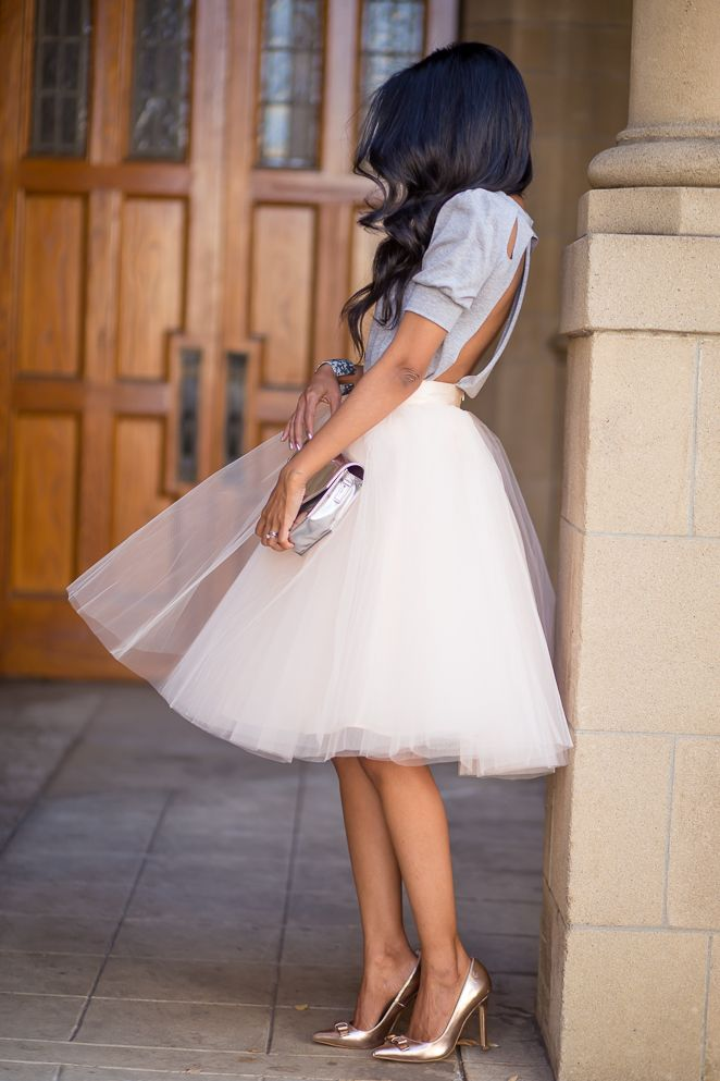 Blush Pink Tulle Skirt by space46 Boutique - Cut out Tee- Rosegold Pumps- Whimsical Outfit-268