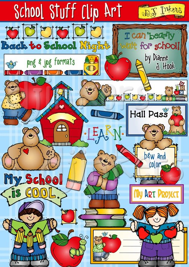 This set has all of the 'School Stuff' clip art you'll need to create smiles in your classroom! Collection includes 2 nameplates, a hall pass, plenty of school tools, darling DJ bears & kids, school time sayings... AND 4 full page borders.  School Stuff Clip Art, teacher clip art, school images, cute school clip art