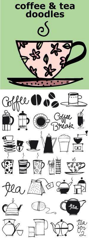 Coffee tea doodles
