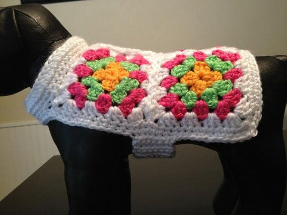 XS Granny square dog sweater by OwlLadyDesigns on Etsy, $25.00