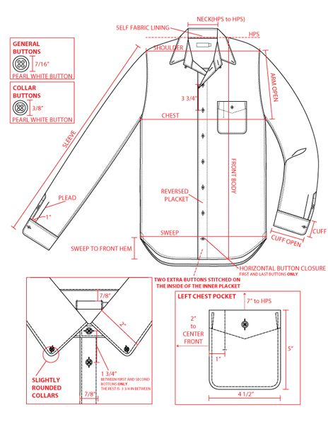 FASHION DESIGN | Technical Drawing / Flat Drawing / Trade Sketch  Example of a shirt and close up of detail