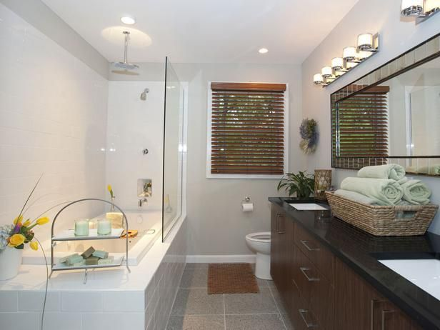 Popular makeovers from the HGTV hit series, Property Brothers -->  http://hg.tv/vyoy: Property Brothers, Bathroom Design, Rain Shower, Brother Pictures, White Subway Tile, Hgtv Property Brother, Subway Tiles, Contemporary Bathroom, Master Bathroom