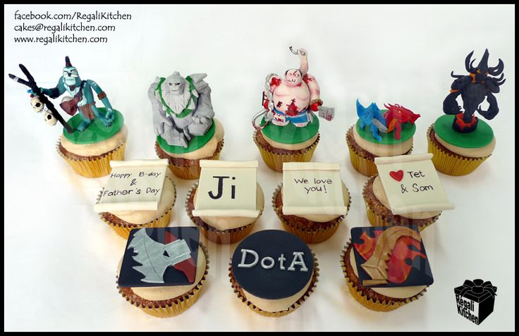 DOTA Cupcakes_Defense Against the Ancients_Gaming Cupcakes_Gamers_Geeky Cupcakes_Geek Cake_Witch Doctor_Tiny_Pudge_Jakiro_Shadow Fiend_Guinsoo Scythe of Vyse_Lothar Edge_Father_Birthday_Man Cake_Love