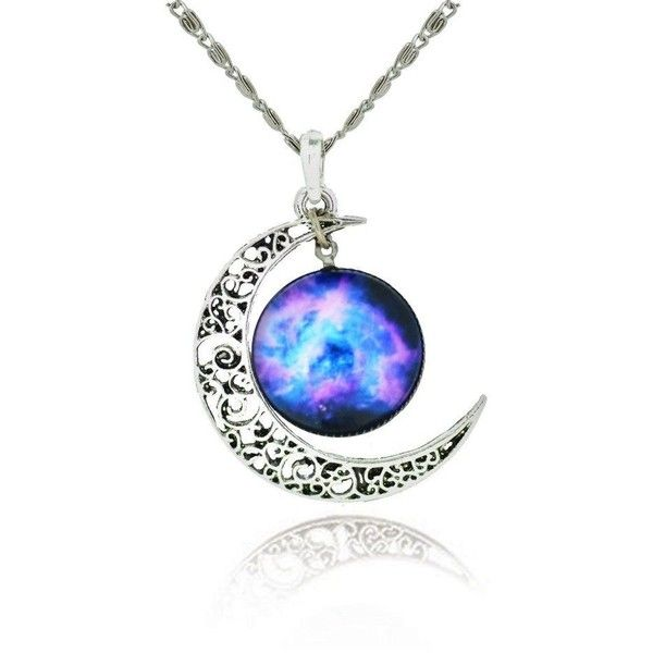 Galaxy Crescent Cosmic Moon Pendant Necklace, Purple Glass, 17.5... ($15) ❤ liked on Polyvore featuring jewelry, necklaces, pendant jewelry, glass pendant jewelry, galaxy jewelry, chain necklace and cosmic jewelry