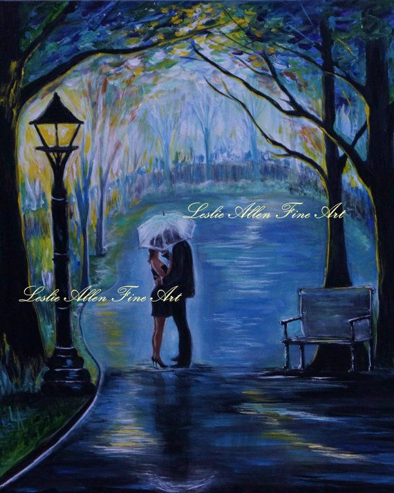 Couple Your My Soul Mate Couples Kissing Raining Rain Under Umbrella Hugging LOVE Park