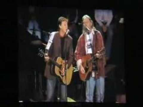 """Neil Young with Paul McCartney performing """"Only Love Can Break Your Heart"""""""