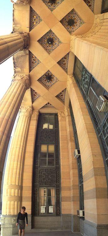 Buffalo City Hall, Buffalo, New York Vertical panorama of the lovely world under the portico. #artdeco #buffalo #cityhall