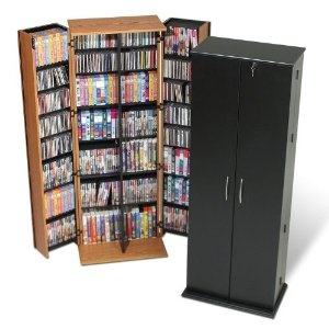 The black one is our very handy locking DVD stand. Keeps little fingers our of reach :)