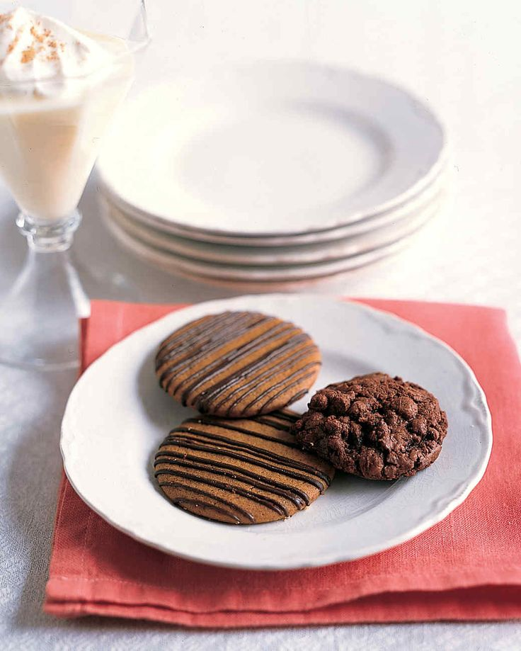 These cookies are made with three types of chocolate for a rich, deep flavor.