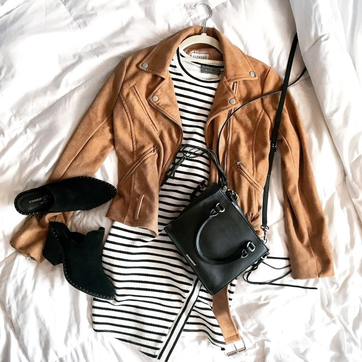 Perfect summer to fall transition outfit, complete with stripes and black mule booties