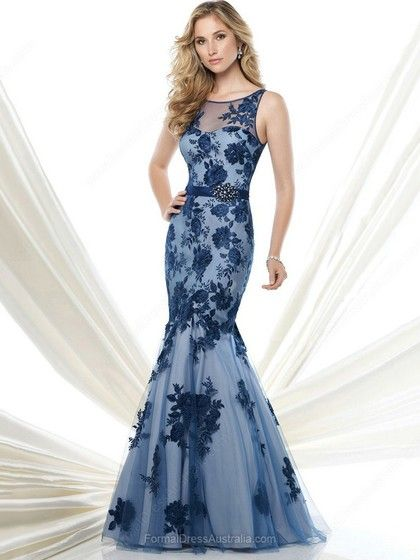 Trumpet/Mermaid Lace Tulle Scoop Neck Sashes / Ribbons Floor-length Formal Dresses -AU$204.19