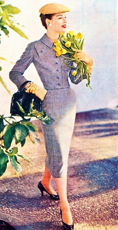 Traje de tela escocesa de lana diseñado por Ben Reing. Imagen de la revista americana Ladies' Home Journal, marzo de 1956. (x)