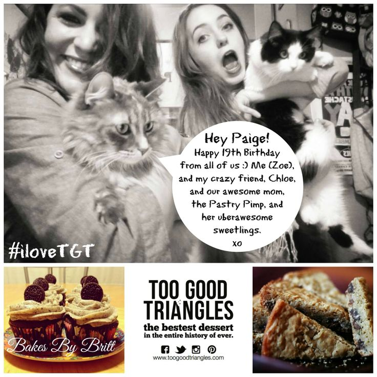 OUR LIL TGT BAKER TURNS 19! * Contest closes at 4pm and runs on FB, IG, Pinterest & Twitter. Winner gets 6 cupcakes from Bakes By Britt & one #free batch of #Classic TGT, #GlutenFree TGT OR #Vegan/#GF TGT :) How to enter: Repin this photo with #iloveTGT and a comment and then stay tuned to see if you won! Winner will be announced today (Friday) by 5pm. Good luck, #sweetlings! www.toogoodtriangles.com #tgt #toogoodtriangles #contest #dessert #cupcakes #celebrate #19