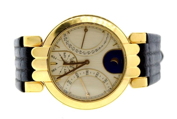 AMAZING Harry Winston 18k Yellow Gold, Moonface & Leather Watch with Pusher! #harrywinston #18k #moonface #leather #watch #watch #chic