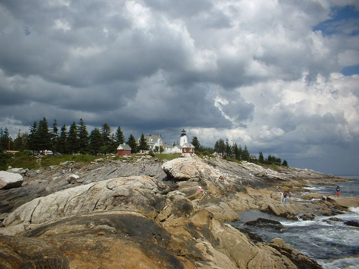 Pemaquid Point Lighthouse as seen from coast, Bristol, Maine