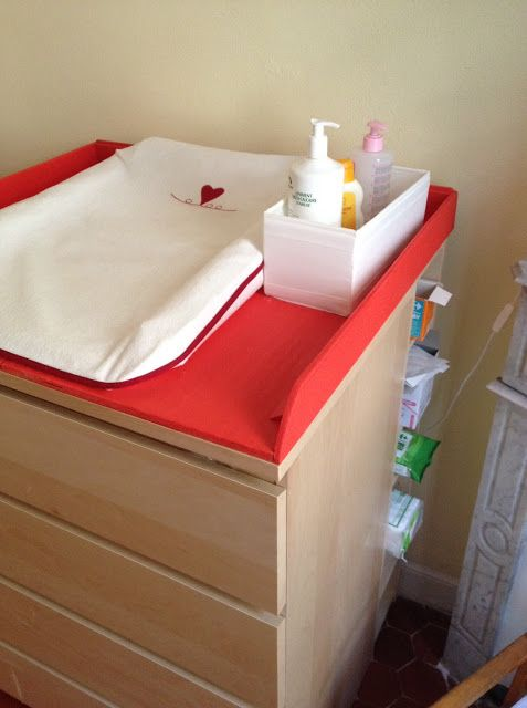 Materials: Malm 4 drawer chest & Benno DVD tower Description: We wanted a changing table for a baby which would be high enough (we're both tall), and with enough storage for all the clothes. After looking at a lot of expensive baby changing table, we got the idea of an Ikea hack, which came up [&hellip