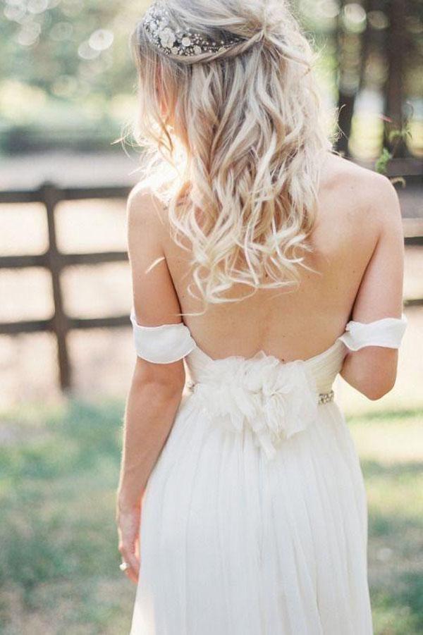 Elegant Off-shoulder Backless White Long Chiffon Wedding Dress With Beading PW201
