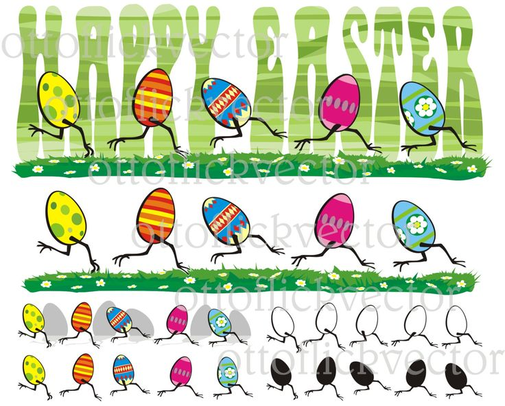 EASTER EGG Vector CLIPART, running painted eggs Happy Easter card eps, ai, cdr, png, jpg, spring time, funny chicken eggs by ottoflickvector on Etsy