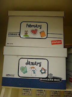 Classroom Organization- monthly labels for storage I wish I had enough room in my room to do this ....