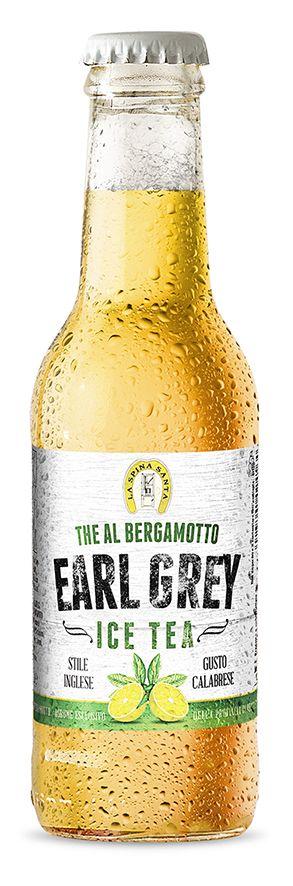 Progettazione grafica Etichetta Earl Grey Ice Tea. Tè al bergamotto da bere ghiacciato. Prod. La Spina Santa (Bova Marina - RC - Italy)