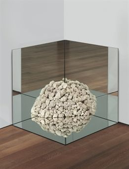 robert smithson - nonsite petrified coral with mirrors; petrified coral limestone collected in 'sanibel island' and three mirrors, 1971, 31 x 31 x 31 in.
